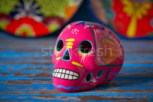 Mexican pink skull dia muertos craft Stock photo © lunamarina
