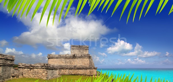 ancient Mayan ruins Tulum Caribbean turquoise Stock photo © lunamarina