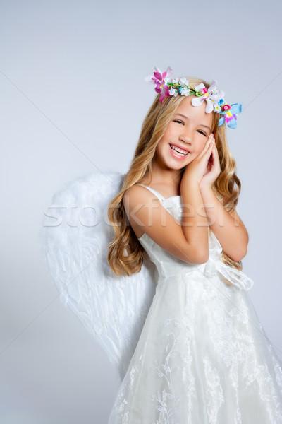 Stock photo: Angel children blond girl with sleeping hands gesture
