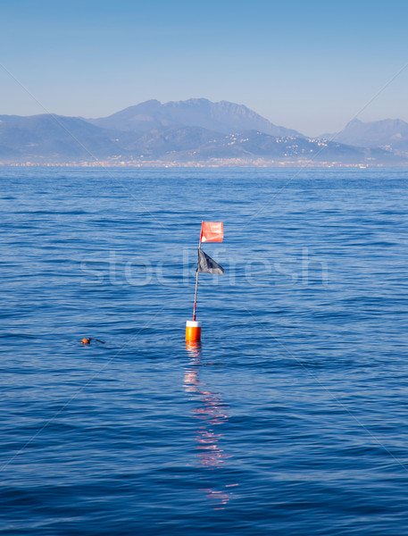 Stock photo: Longliner and trammel net buoy with flag pole