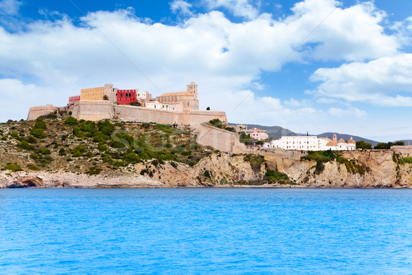 Eivissa ibiza town castle and church Stock photo © lunamarina