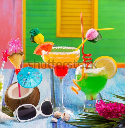 Colorful varied tropical Cocktails in tropical Caribbean house Stock photo © lunamarina