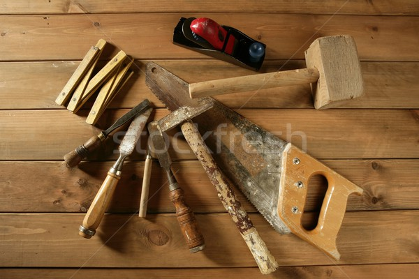 carpenter tools saw hammer wood tape plane gouge Stock photo © lunamarina