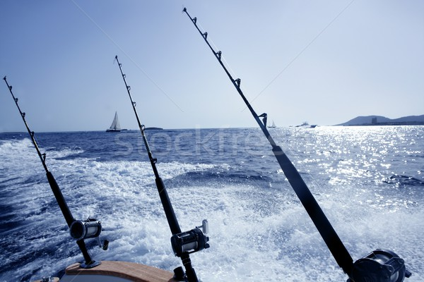 Boat trolling fishing on Mediterranean Stock photo © lunamarina