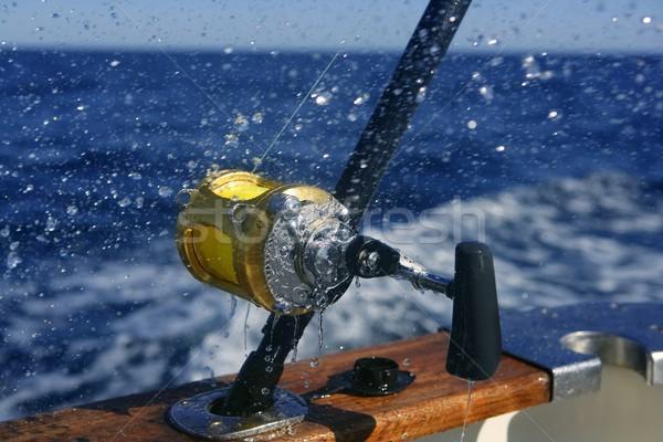 Foto d'archivio: Grande · gioco · pesca · profondità · mare · barca
