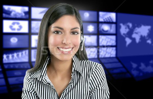 Beautiful indian woman television news presenter Stock photo © lunamarina