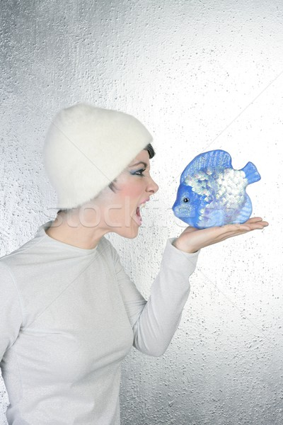 Сток-фото: сердиться · футуристический · моде · женщину · сообщение · синий