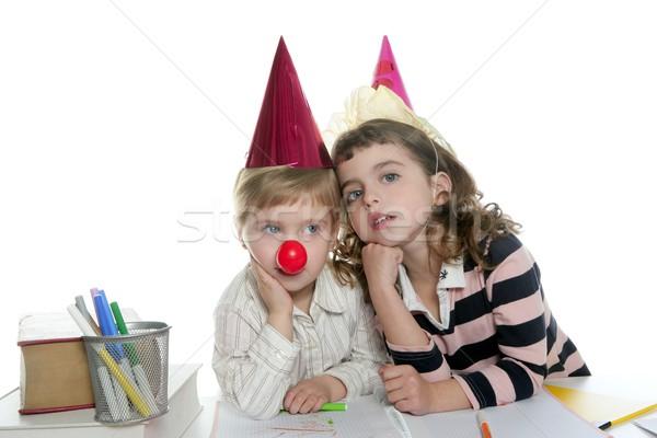 Party student two little school girls Stock photo © lunamarina