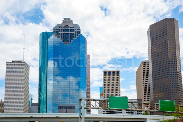 Houston Texas sziluett kék ég modern kilátás Stock fotó © lunamarina