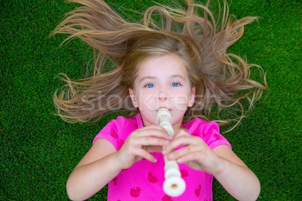 Kid детей девушки играет флейта Сток-фото © lunamarina