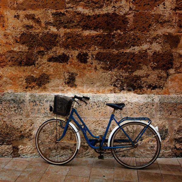 Bisiklet tarihsel taş duvar şehir duvar sokak Stok fotoğraf © lunamarina