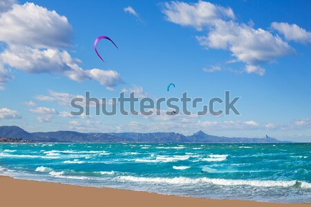 Kite surf in Denia Oliva Gandia in Valencian Community Stock photo © lunamarina