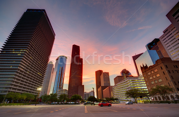 Houston Downtown skyline at sunset Texas US Stock photo © lunamarina