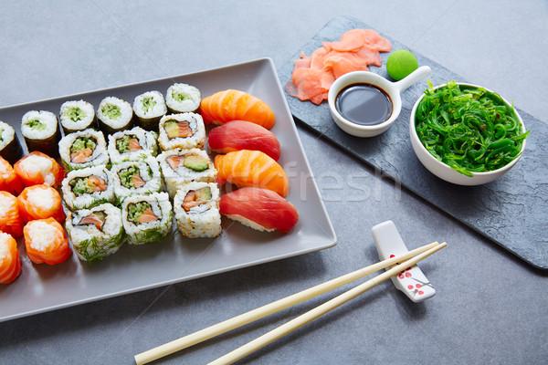 Stock photo: Sushi Maki and Niguiri soy sauce and wasabi