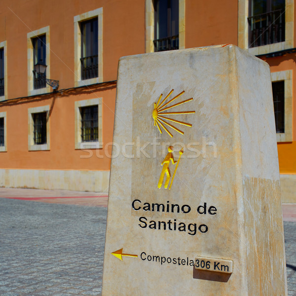 Way of Saint James stone sign in Leon 306 km Stock photo © lunamarina