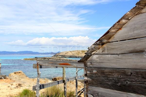 Formentera wooden boat traditional houses Stock photo © lunamarina