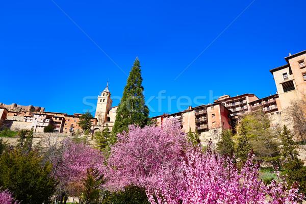 Médiévale ville printemps Espagne mur rue Photo stock © lunamarina
