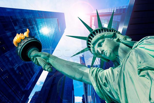 свободы статуя Небоскребы Нью-Йорк американский Сток-фото © lunamarina