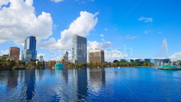 Orlando sziluett tó Florida USA város Stock fotó © lunamarina