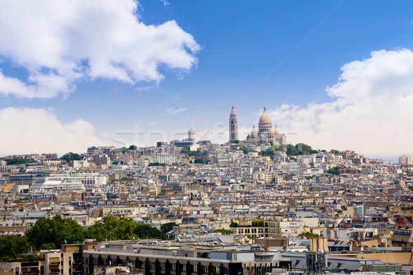 Paris skyline and sacre coeur cathedral France Stock photo © lunamarina