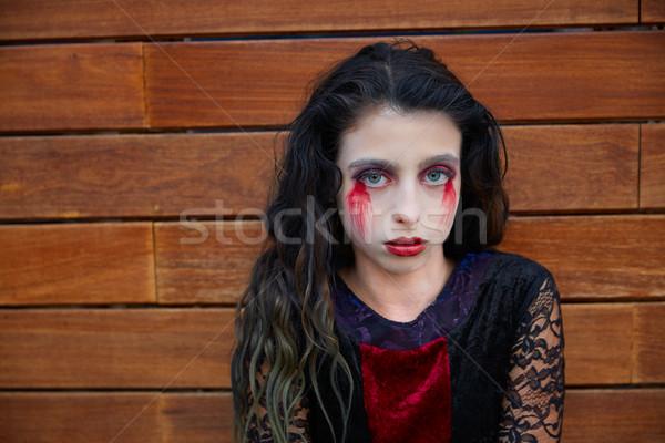 Halloween kid meisje bloedig make houten Stockfoto © lunamarina