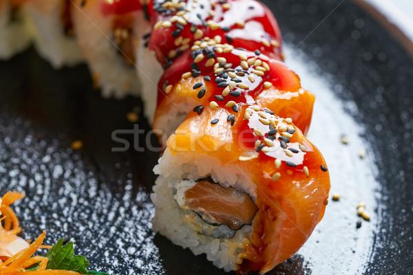 Arroz maki sushi salmão atum peixe Foto stock © lunamarina