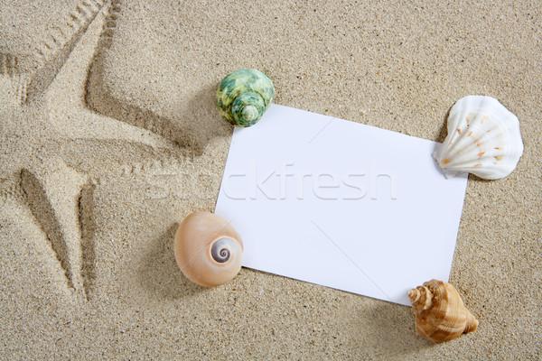 Stock fotó: üres · papír · tengerparti · homok · tengeri · csillag · pint · kagylók · nyár