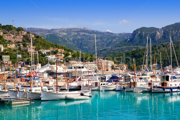 Port de Soller view with tramontana mountain in Mallorca Stock photo © lunamarina