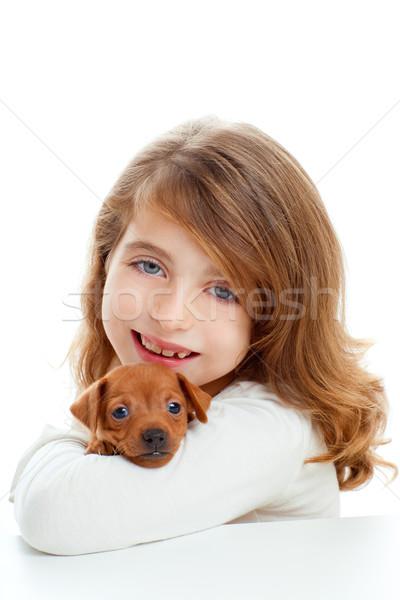 Foto stock: Morena · menina · cachorro · cão · mini · criança