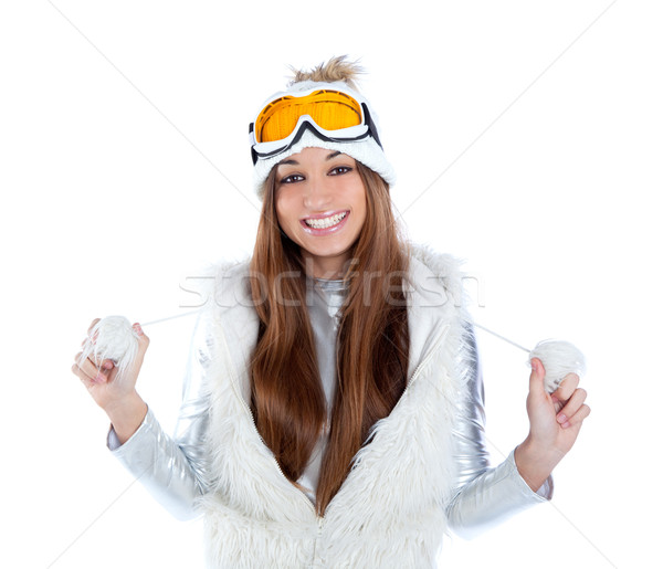 asian indian brunette winter girl with snow fur cap Stock photo © lunamarina