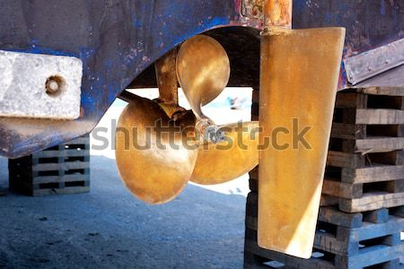 brass boat propeller and steering Stock photo © lunamarina