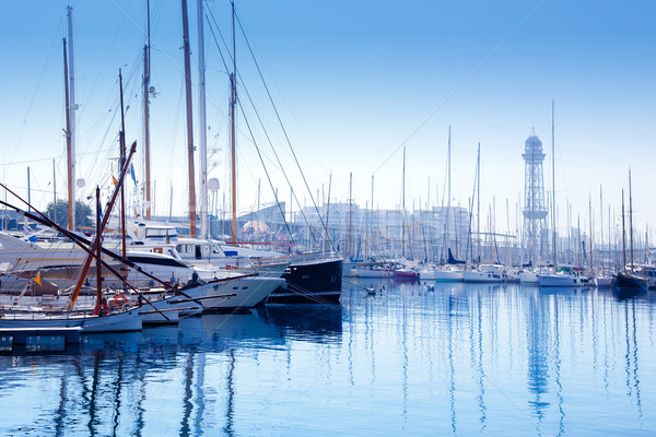 Barcelona marina port with teleferic tower Stock photo © lunamarina