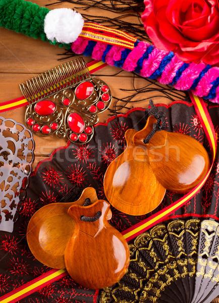 Tipikus Spanyolország flamenco elemek rózsa ventillátor Stock fotó © lunamarina