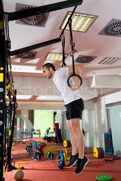 Crossfit fitness dip ring man dipping exercise workout Stock photo © lunamarina