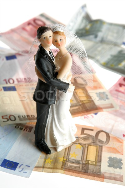Bruiloft paar beeldje euro merkt liefde Stockfoto © lunamarina