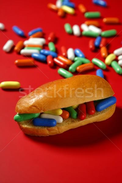Kanapkę kolorowy candy słodkie dzieci menu Zdjęcia stock © lunamarina
