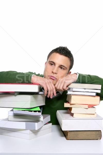 Jungen unglücklich Studenten gestapelt Pfund Hausaufgaben Stock foto © lunamarina