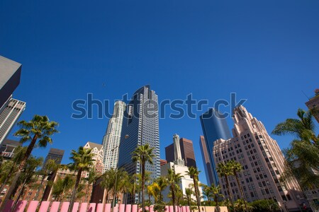 LA Downtown Los Angeles Pershing Square palm tress Stock photo © lunamarina