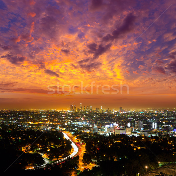 Centre-ville la nuit Los Angeles coucher du soleil Skyline Photo stock © lunamarina
