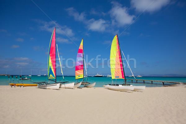 catamaran sailboats in Illetes Formentera beach Stock photo © lunamarina