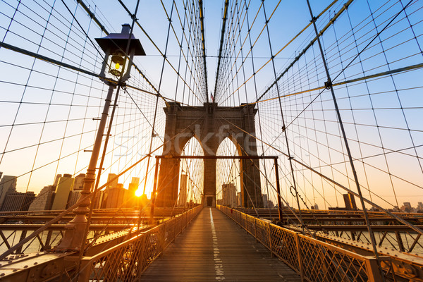 Photo stock: Pont · coucher · du · soleil · New · York · Manhattan · Skyline · ny