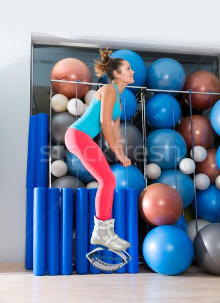 Gravitáció fitnessz csizma lány kenguru tornaterem Stock fotó © lunamarina