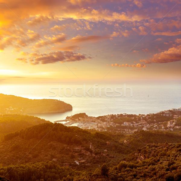 Port de Soller sunset in Majorca at Balearic island Stock photo © lunamarina