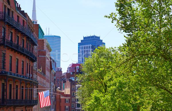 Bandera de Estados Unidos Boston Massachusetts EUA cielo viaje Foto stock © lunamarina