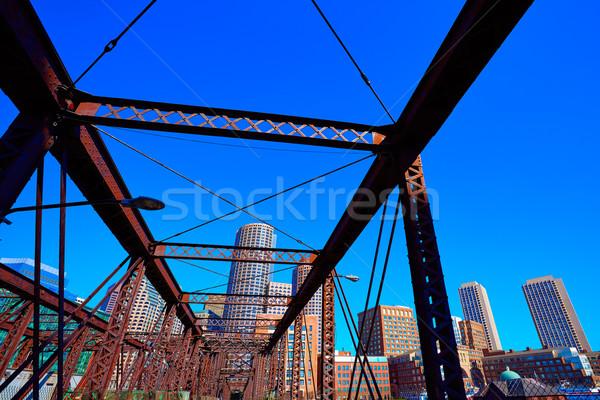 Boston skyline from Northern Avenue Bridge Stock photo © lunamarina