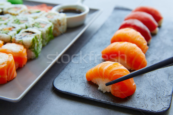 Sushi Maki and Niguiri soy sauce and wasabi Stock photo © lunamarina