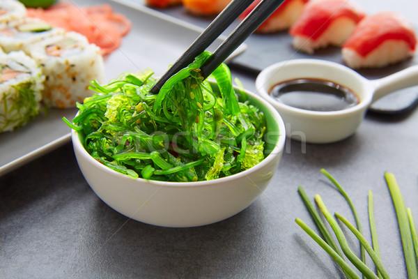 Sushi maki molho de soja Califórnia rolar alga Foto stock © lunamarina