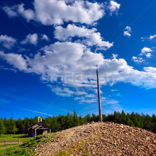 Stock photo: Cruz de Ferro top at Saint James Way Leon