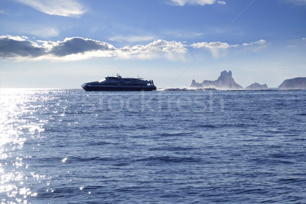 Ferry crossing Ibiza Formentera sunset Es Vedra Stock photo © lunamarina