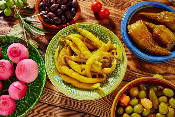 Tapas pickles mix olives chili onion eggplant Stock photo © lunamarina